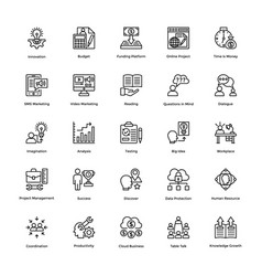 Project management line icons set 15 vector