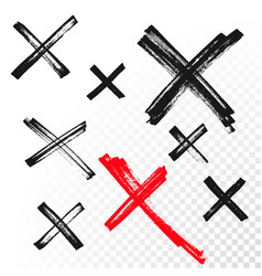 reject mark criss cross sign crossed hand drawn vector image