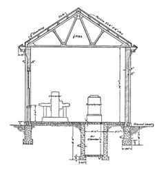 resident sub station plan section a typical vector image