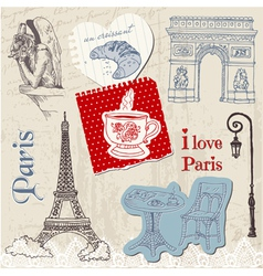 Scrapbook Design Elements - Paris Vintage Set vector image vector image