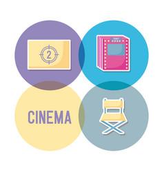 set icons of cinema icon vector image