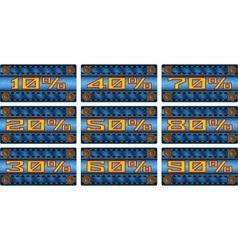 Set of sale percent labels on jeans strip vector image