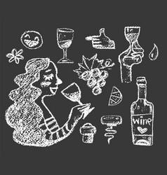 Set white chalk wine doodle vector