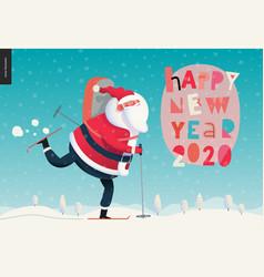 skiing santa claus - 2020 new year greeting card vector image