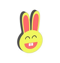 Smiling bunny symbol flat isometric icon or logo vector