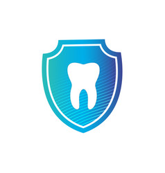 strong white tooth in protection shield with vector image