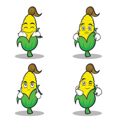 sweet corn character cartoon of set vector image