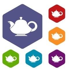 Teapot icons set vector