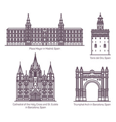Thin line style spain architecture landmarks vector