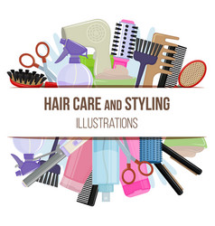 tools and hair care products vector image