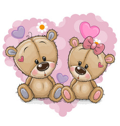 two cartoon bears on a background of heart vector image