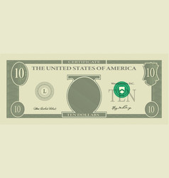 Voucher template banknote 10 dollars vector