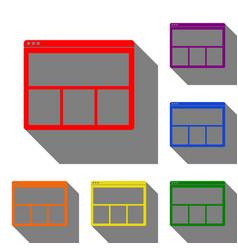 web window sign set of red orange yellow green vector image