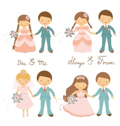 Wedding couples set vector image