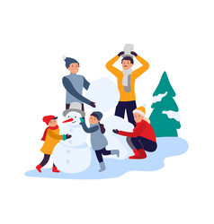 winter activities happy family making snowman vector image