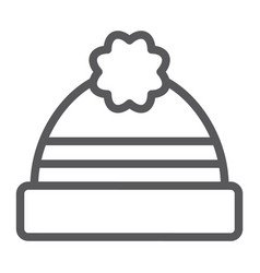 winter hat line icon clothing and warm cap sign vector image