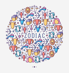 zodiac signs concept in circle vector image