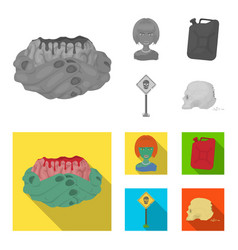 zombies and attributes monochromeflat icons in vector image