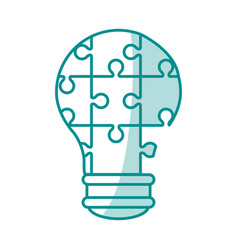 blue silhouette shading light bulb of pieces vector image