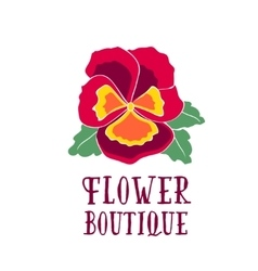 Bright logo for a flower shop bouquet with pansy vector