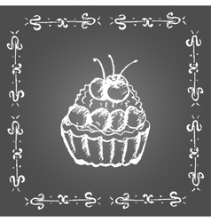 Chalk dessert with cherry Vintage frame vector image