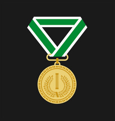 golden medal for first place icon flat design on vector image