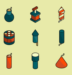 pyrotechnics color outline isometric icons vector image vector image