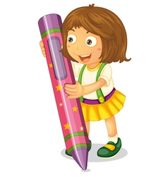 a girl holding pencil vector image vector image
