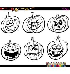 halloween pumpkins coloring page vector image vector image