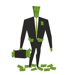 Money man Dollar Monster human wite cash Bundle of vector image