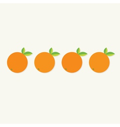 Orange fruit set with leaf row Healthy lifestyle vector image vector image