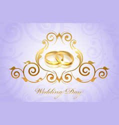 wedding invitation floral purple vector image vector image