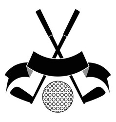 black crossed golf ball logo vector image vector image