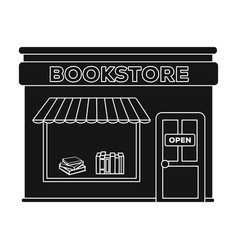 bookstore icon in black style isolated on white vector image