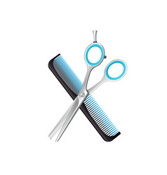 crossed comb and scissors composition vector image