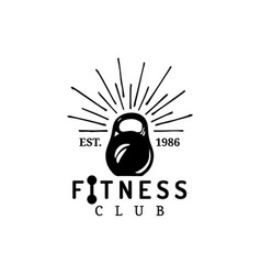 fitness logo hand sketched athletic weight vector image vector image