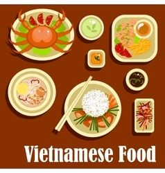 Healthy dishes flat icons of vietnamese cuisine vector image vector image