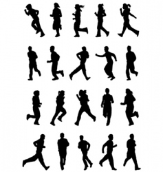 running people silhouette vector image vector image