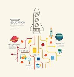 Flat line Infographic Education rocket Outline vector image