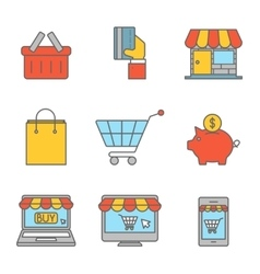Online shopping outline flat icons vector image vector image