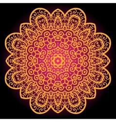 Orange vintage art of india Mandala chakra karma vector image