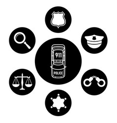 Police concept with car and accessories icons vector