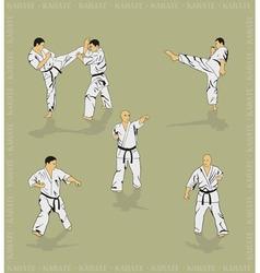 Set of the men showing karate vector image vector image