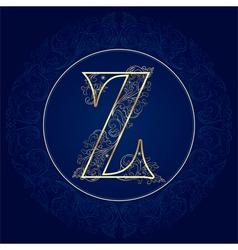 Vintage floral alphabet letter Z vector image vector image