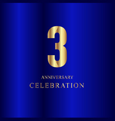 3 year anniversary celebration gold blue template vector