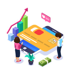 3d isometric online banking concept man and a vector image