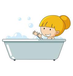 A girl taking bath vector