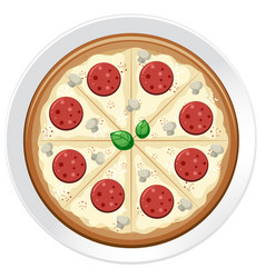 A pepperoni pizza on plate vector