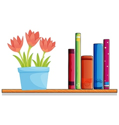 A wooden shelf with a pot of flower and books vector