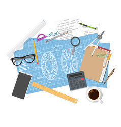 architecture blueprints and engineer workspace vector image